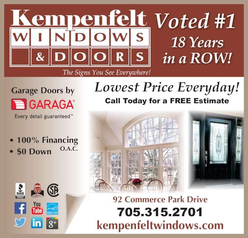 Kempenfelt Windows Opening Hours 92 Commerce Park Dr