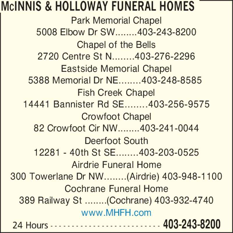 Mcinnis holloway funeral homes calgary ab 5008 for 24 hour tanning salon near me