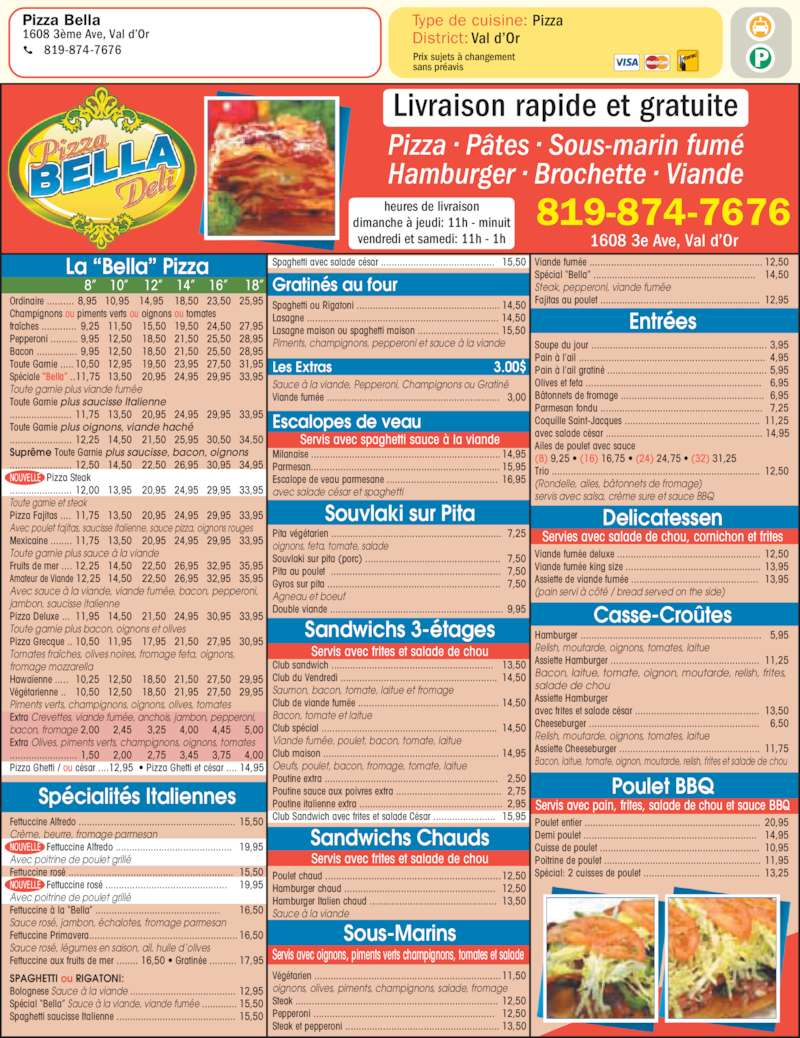 Pizza Bella Hollywood Menu