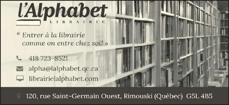 ad Librairie L'Alphabet Inc - Télécopieur