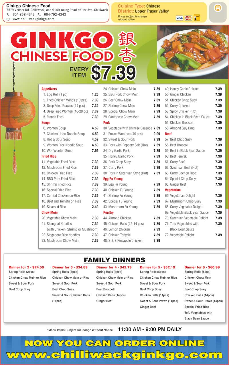 Chinese Food Winnipeg Delivery Menu