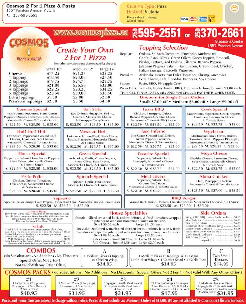 Menu for Cosmos 2 For 1 Pizza & Pasta