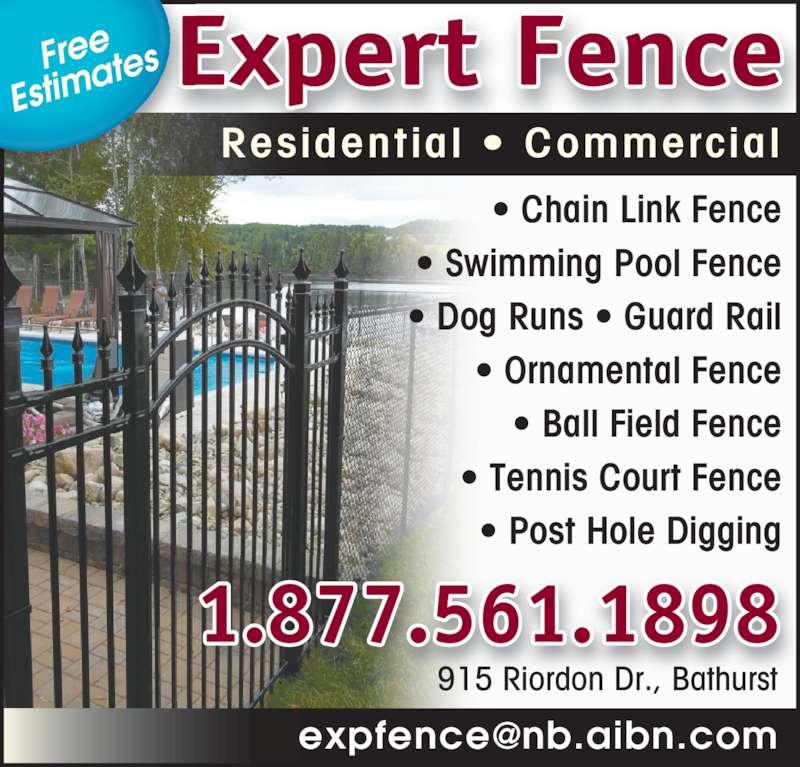Expert Fence Co Ltd Bathurst Nb 915 Riordon Dr Canpages