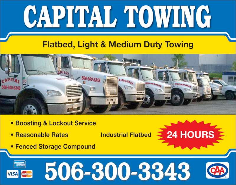 Capital towing fredericton nb 29 cityview ave canpages for 24 hour tanning salon near me
