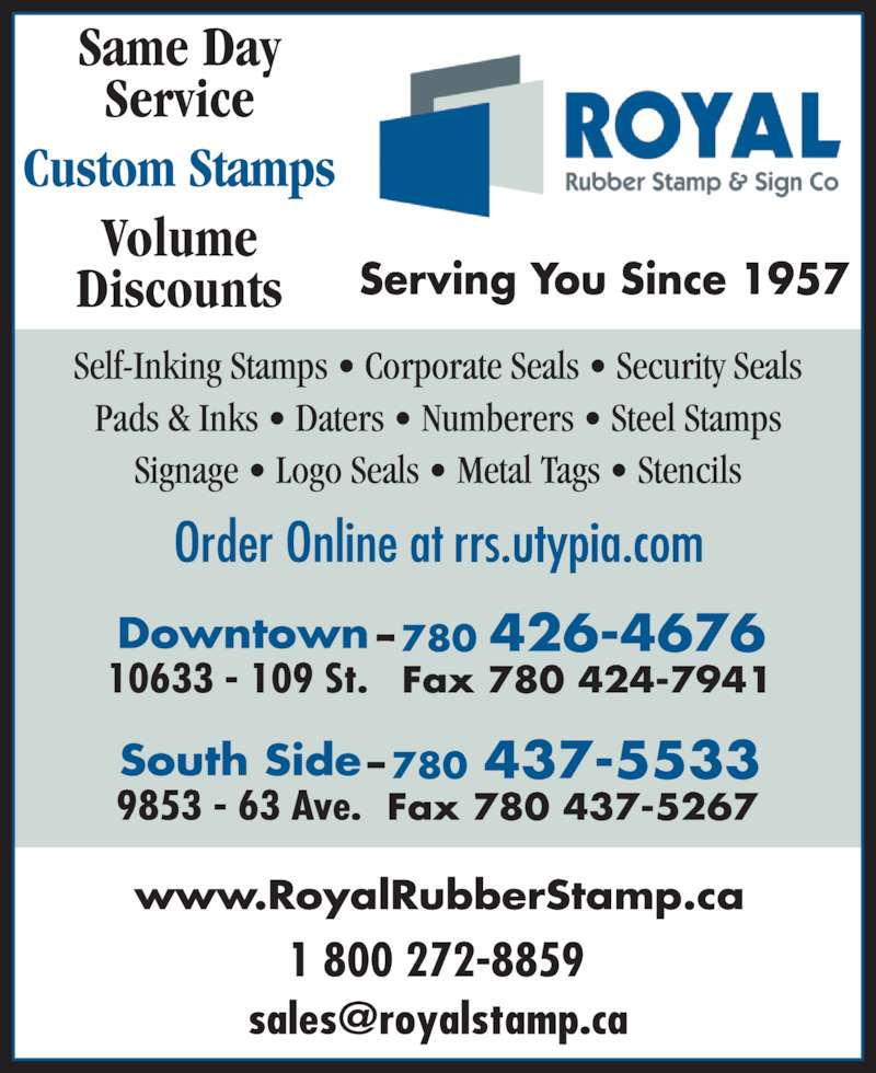 Royal Rubber Stamp Co Ltd Edmonton Ab 10633 109th