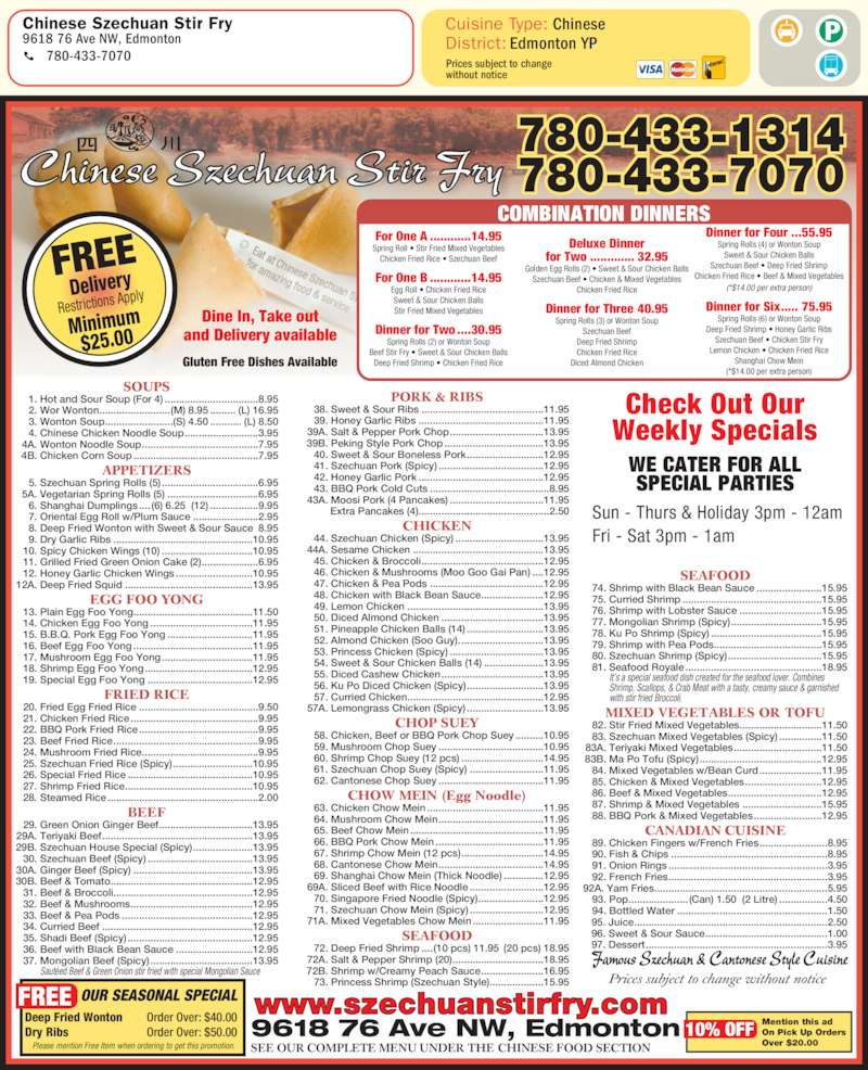 Free Delivery Chinese Food Mississauga