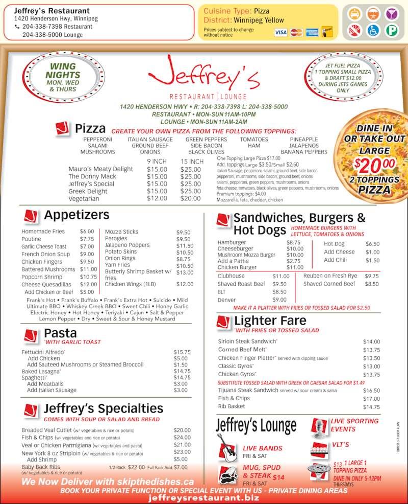 Jeffrey Restaurant Menu Winnipeg