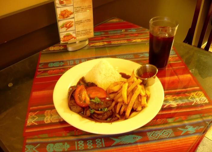 Peruvian food, rotisserie chicken, ceviche, pasta, saltado, stir fries, salads