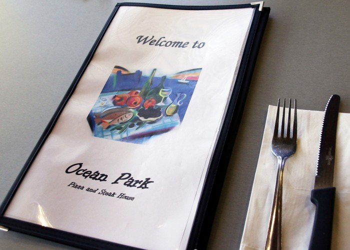 Ocean Restaurant Park Pizza & Steak House: Pizza, Greek food, Italian food, steak, fully licensed.