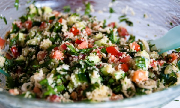 Cooking with parsley: pita bread stuffed with tabbouleh and beef