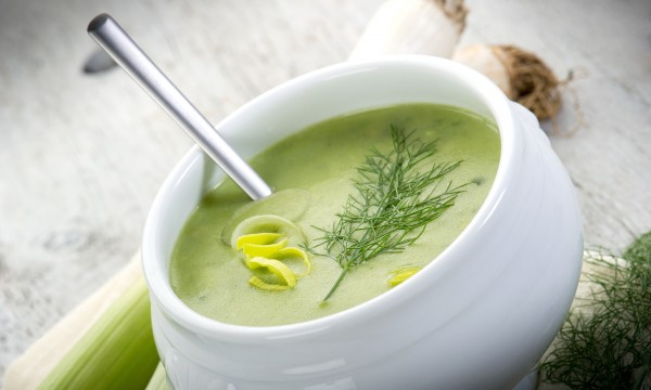 Classic and savoury cream of leek and potato soup