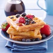 Recipe to beat high blood pressure: multi-grain waffles with apple-raspberry sauce