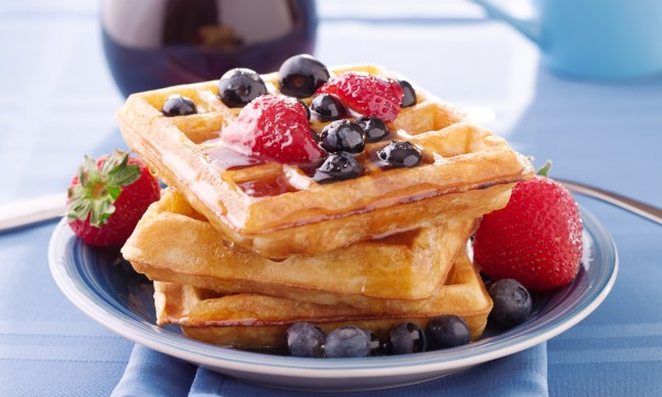 Recipe to beat high blood pressure: multi-grain waffles with apple-raspberry sauce