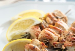 How to make turkey souvlaki with grilled vegetables