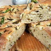 Savoury focaccia bread with fresh rosemary