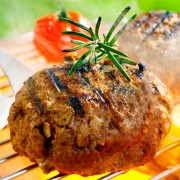 Lean beef burgers stuffed with blue cheese nuggets
