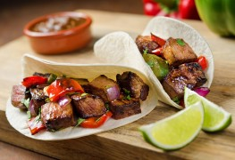 Juicy beef, onion and pepper fajitas