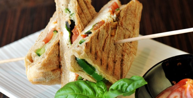 Chicken and roasted pepper panini at home