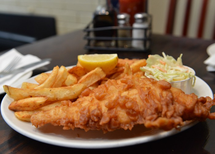 Award-winning fish and chips, fish dishes, chicken dishes, hamburgers, meat pies, salads and soups