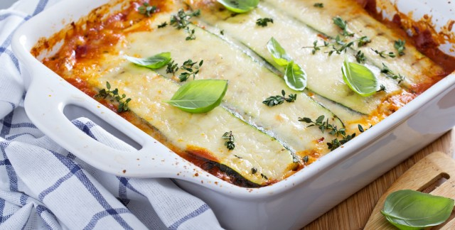 Healthy and delicious vegetarian lasagna with eggplant