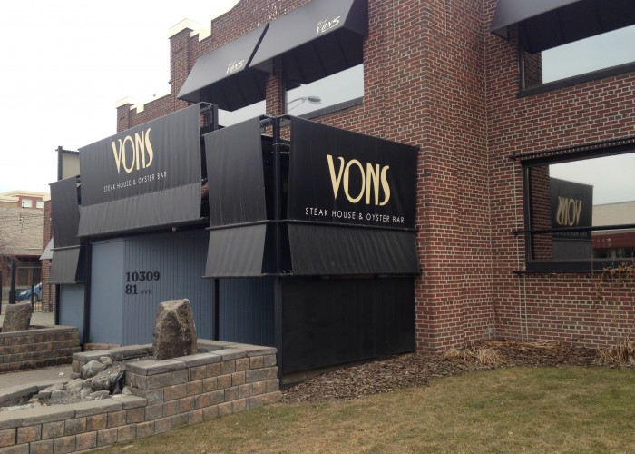 Vons Steak House and Oyster Bar has been open in Old Strathcona since 1988.