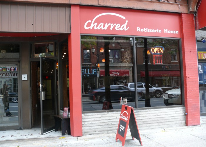 Charred, Take-out, dine-in, catering, delivery, fresh BBQ chicken, sandwiches, soups, French fries