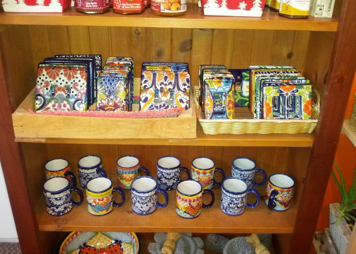 Handcrafted goods, imported from Mexico, tiles, sinks, vases, garden pots, dishware, cups, mugs, household goods