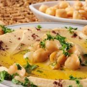 A spread and 2 crisps: chickpea spread, tortilla and pita crisps