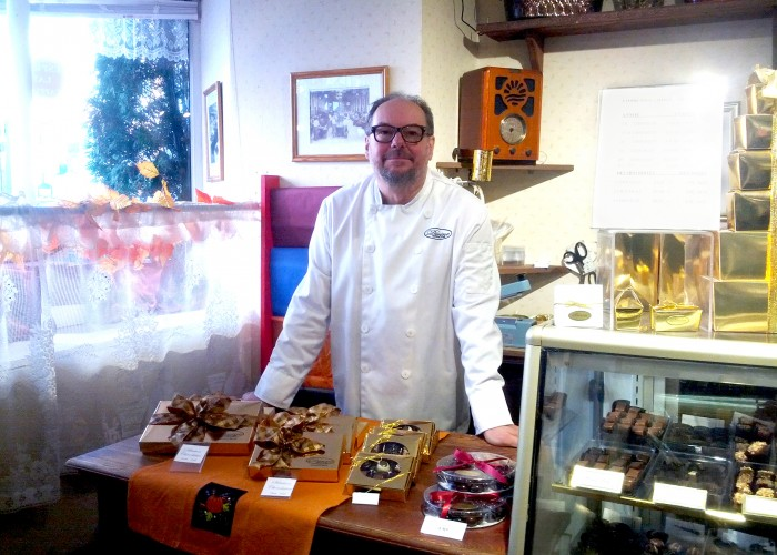 Truffles, hot chocolate, spreads, chocolate coated nuts, chocolate coated coffee beans, chocolate chips, chocolate cigars, macaroons, handcrafted wooden gift boxes
