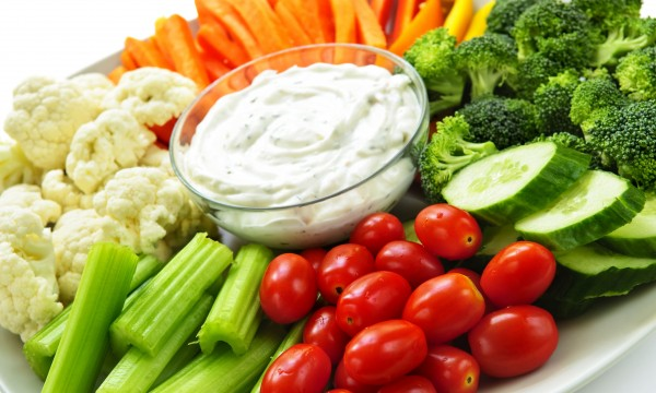 Enjoy blood-pressure friendly crudités with 3 dips