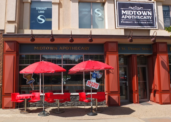Midtown Apothecary is a pharmacy and old-fashioned ice cream shop located in downtown St. Albert