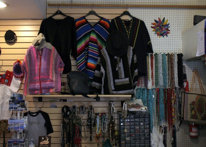 A Touch of Mexico, Earrings, necklaces, pendants, leather and cloth bags, ponchos, scarfs, blankets