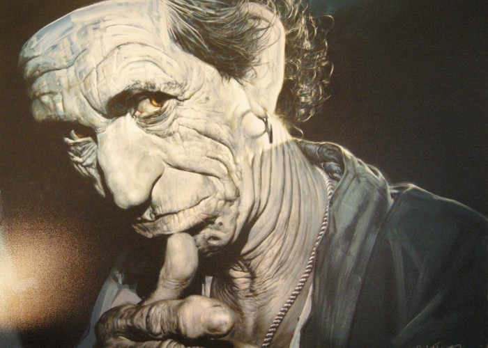 A piece featuringKeith Richards of the Rolling Stones, on sale at antiques Loft 9.