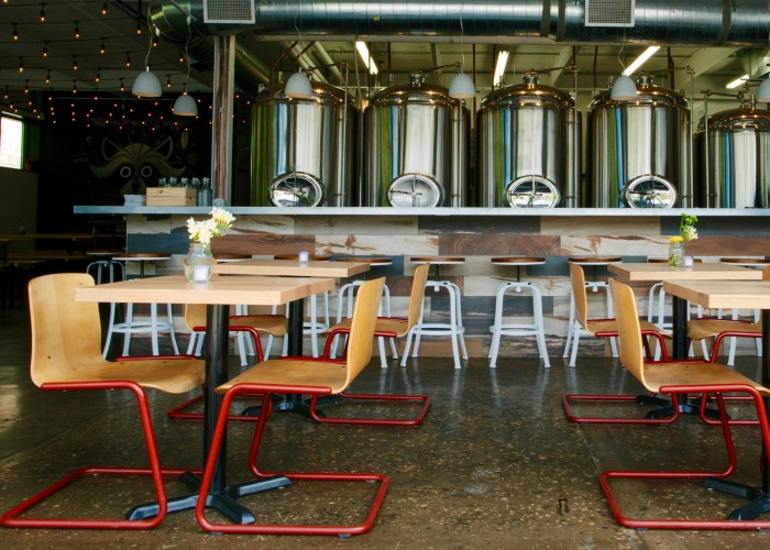 The open-concept design at Bandit Brewery lets bar patrons see the tanks and fermenters that their beer was made in.