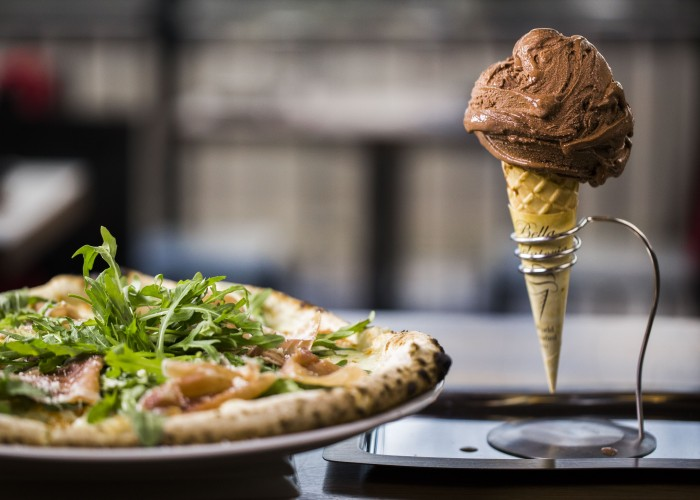Bella Gelateria's authentic Italian menu includes thin-crust pizzas and old world gelato.