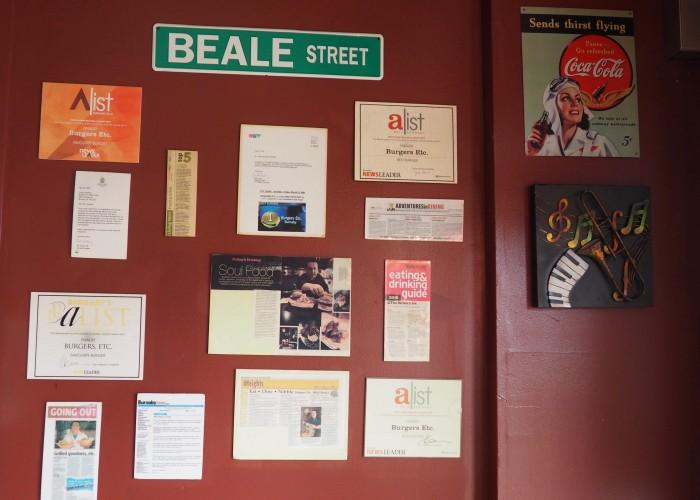 Awards and accolades adorn the walls at Butchers Block BBQ.