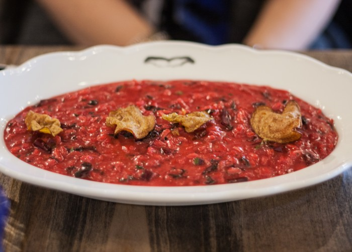 At Capra's Kitchen, chef Massimo's signature red beet risotto is as pretty as it is delicious!