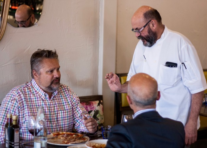 The atmosphere at Capra's Kitchen is fun and relaxed, with Massimo often out chatting with guests.