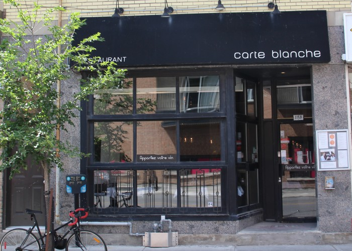 Carte Blanche looks out ontoOntario Street.