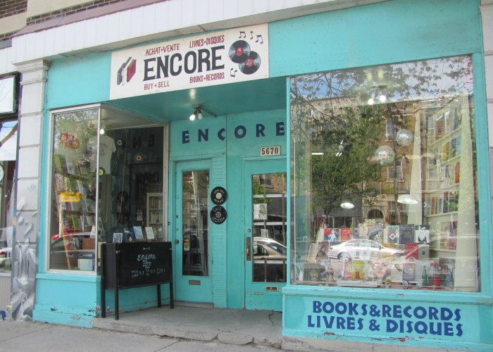 The exterior of Encore Books and Records, a second-hand book and record shop where the stock is always changing.