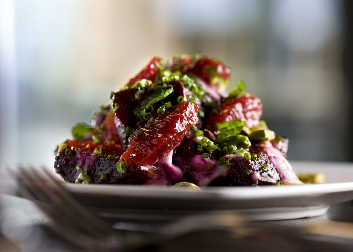 A fresh beet salad highlights local ingredients while incorporating authentic Spanish flavours.