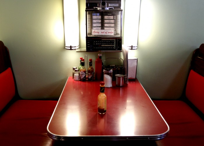 The Galaxie Diner is decorated just like a 1930s film.