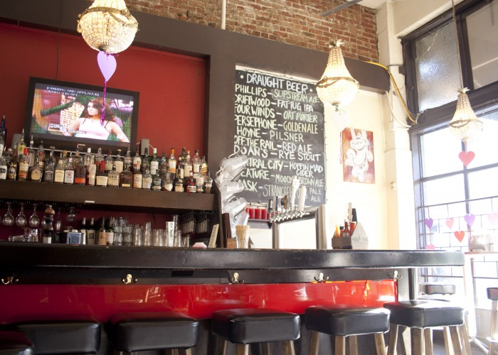 The bar at The Whip features local craft beer and classic cocktails