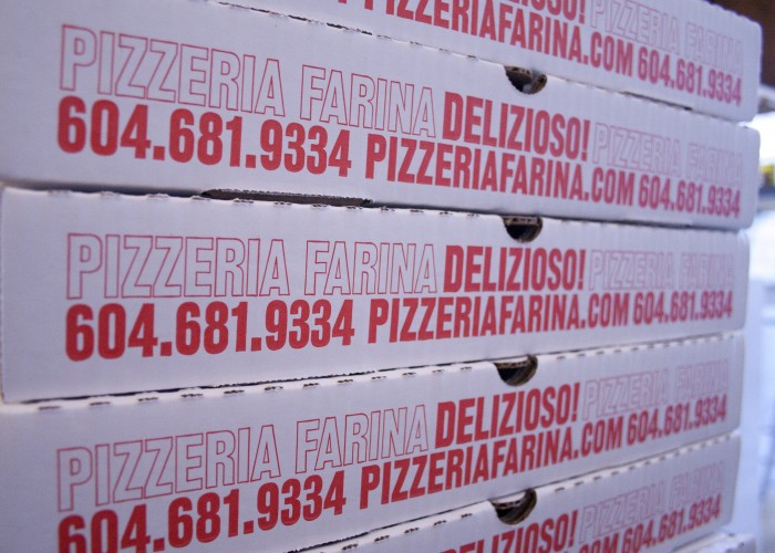 Pizzeria Farina customers can enjoy their pie on site or take it to go