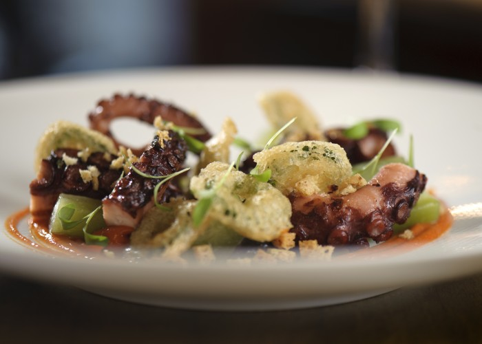 BBQ octopus served with fried jalapeno, smoked pepper sauce, and bread crumbs toasted in pork fat.