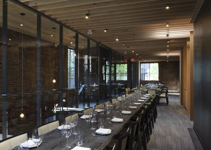 L'Abattoir's private dining rooms blend unique 19th century architecture with modern details for an intimate vibe.
