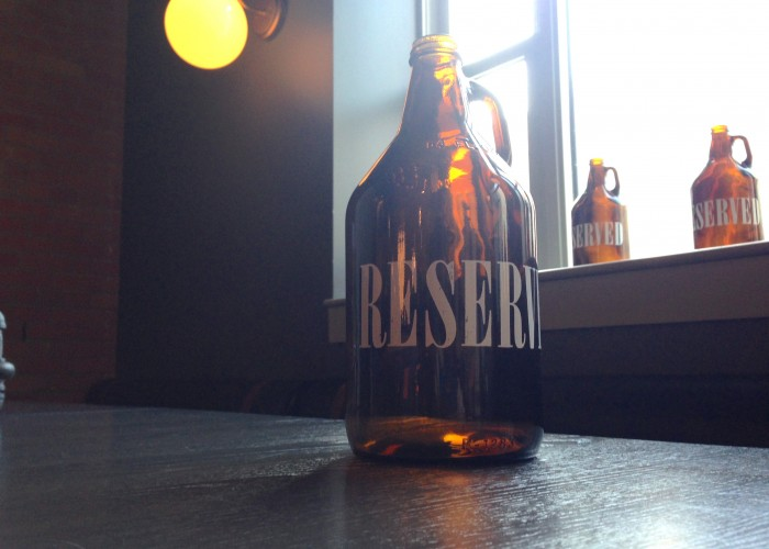 Last Best Brewing and Distilling serves a selection of house-brewed beers.