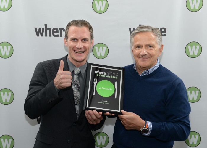 Maitre D' Taylor Coulthard (left) and chef/owner Michel Jacob (right) accepting the award for Best French Restaurant at the Where To Dine Awards in 2016.