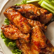 Tangy Buffalo chicken wings with blue cheese dip