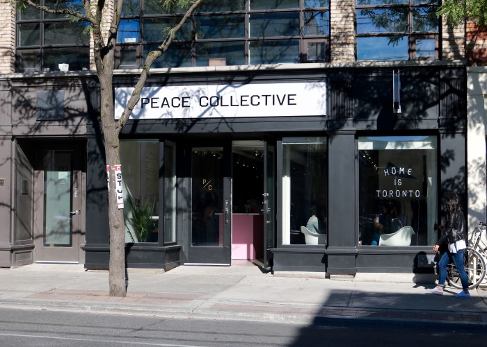 Peace Collective is located on Ossington Avenue between Dundas Street West and Queen Street West.